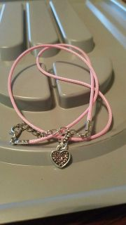 Pink Cord Necklace With Pink Heart Charm