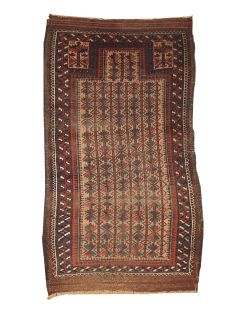 Handmade antique Afghan prayer Baluch rug, 1B219