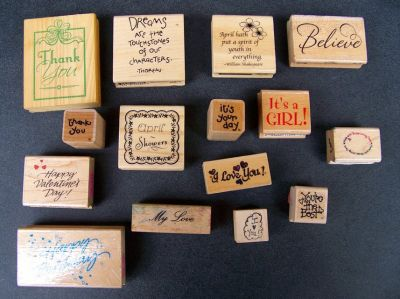 Rubber Stamps, Sayings/Words, 15 Stamps, Many VTG