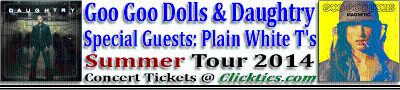 Goo Goo Dolls and Daughtry Concert Tickets for Corpus Christi, TX on June 24, 2014