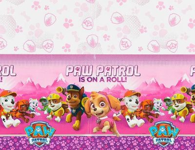 Paw Patrol Pink Plastic Table Cover