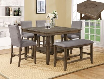 SALE! UPSCALE SOLID MADE PEDESTAL DINING SET W/ BUILT IN LAZY SUSAN!