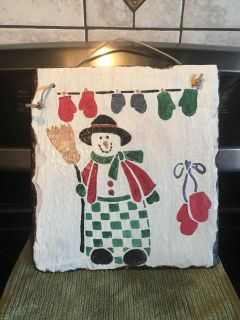 Hanging hand painted slate snowman