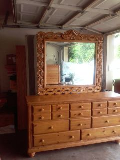 Beautiful Oak Dresser with Mirror and matching King size Oak bed