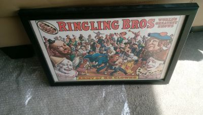 Ringling Brothers Framed poster and 2 vintage programs