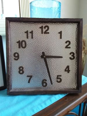 "Wood and hammered metal clock 11"" 11"". Xposted"