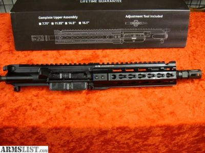"For Sale: NEW! PWS DIABLO GAS PISTON AR-15 Pistol UPPER 7"" COMPLETE Receiver KEY MOD AR15 5.56 223"
