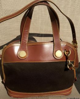 Vintage Dooney & Bourke Handbag Brown Leather Canvas Purse Crossbody Made in USA