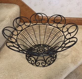 Large black metal decorative fruit bowl basket