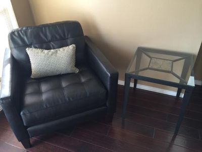 $1,000, New Black leather living room set with coffee table and side tables.