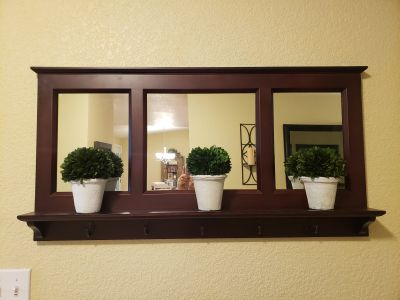 Pottery barn pub wall mirror with hooks