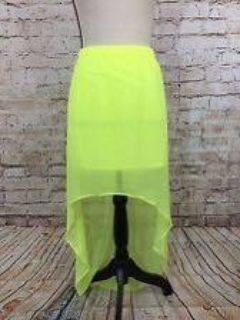 Express Womens Neon Yellow Beach Skirt Cover-Up With Lining Size L Hi Low NWOT