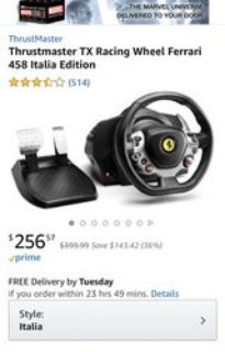 Thrustmaster TX 458 Italia edition racing wheel