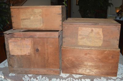 4 Old Wooden Shipping Boxes