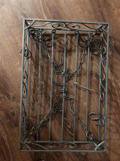 Small hanging pot rack antiqued silver