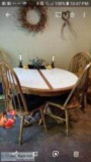 DINING TABLE CHAIRS and HUTCH