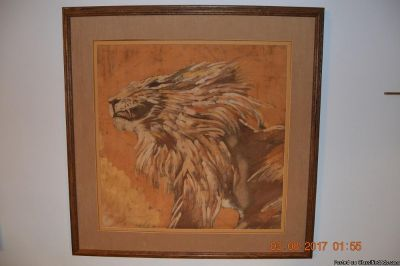 Lion Painted By Feet on Canvas From Africa