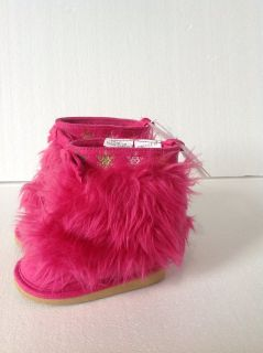 New! Gymboree Hot Pink Fur Boots sz 3 baby & toddler