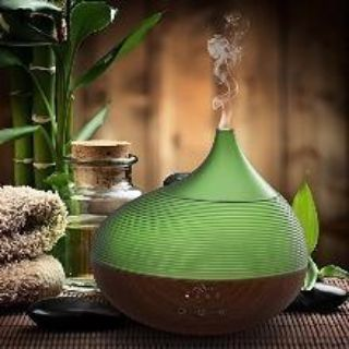 300ml Essential Oil Diffuser Ultrasonic Aroma Humidifier Wood Grain and Ripple Design BPA-free, Up to 10 hours Use, 3 Timer Settings, Waterl