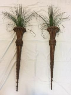 2 high end wall sconces with greenery