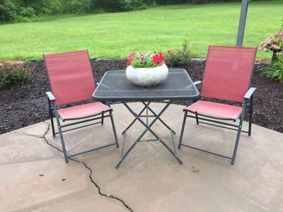 Garden Set - Iron Table & Red Chairs **Selling as a Set Only** Planter is for sale also.