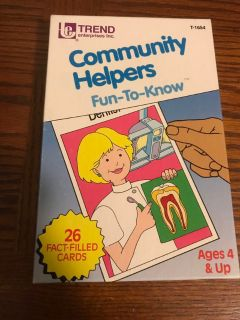 Vintage 1986 TREND Community Helpers Flash Cards