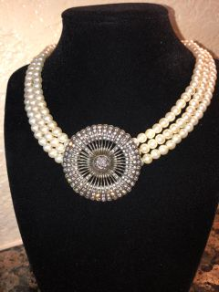 Pearl and Pewter Pendant Costume Jewelry