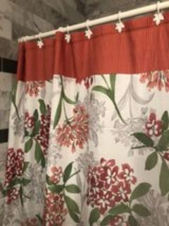Coral/light grey/green accent shower curtain