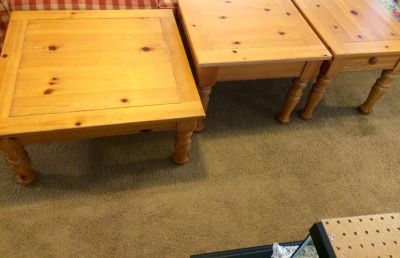 Pine coffee table end tables