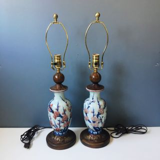 Asian vase lamps - antique cherry blossom pottery
