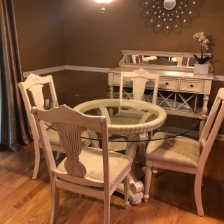 Wood Dining Table and Chairs with Matching Buffet