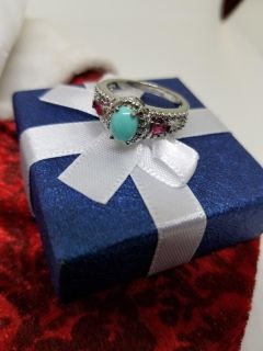 Beautiful Turquoise Ring with Ruby stones
