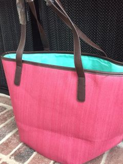Neiman Marcus Red Pink Straw Tote Purse Bag NEW