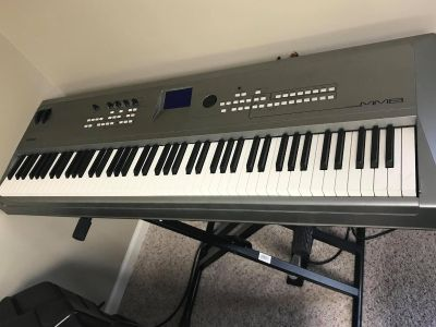 "Yamaha MM8 Keyboard with 15"" Harbinger Speaker and more"