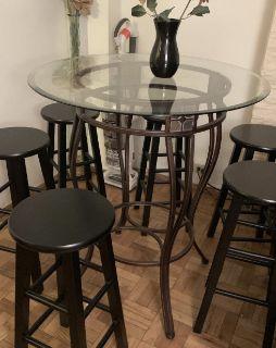 Boraam Beau Metal Pub Table W/ Glass Top