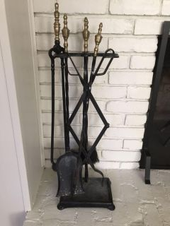 Iron and brass fireplace tools