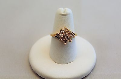 gold plated cz clear gem stone sz 6 cluster cocktail ring party holiday fashion