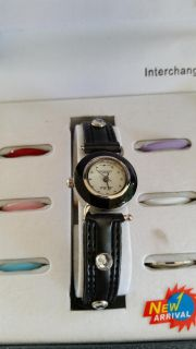 Watch gift set with interchangeable color face rings and rhinestone bands