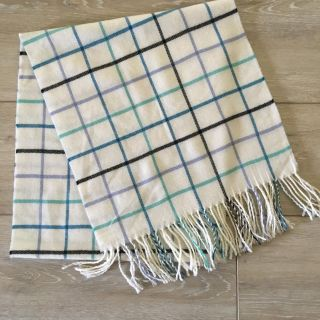 LANDS END Women's Black and White Plaid Fringed Scarf or Shawl