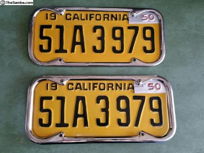 California 47 base license plates with 50 corners