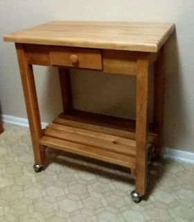 KITCHEN ISLAND/CART/HEAVY DUTY/SOLID WOOD WITH CASTERS.......EXCELLENT CONDITION