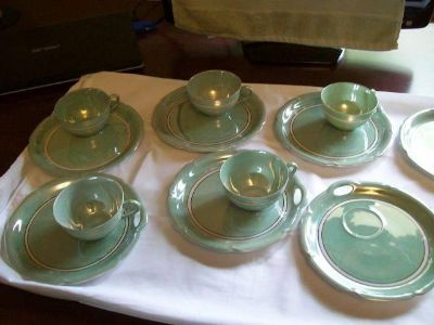 Green Lusterware Tea Cup and Snack Tray Set (5 sets) Rudolf Wachter