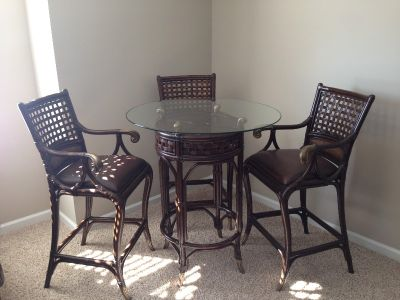 2 Hooker Pub Tables and 7 Leather and Wicker Pub chairs