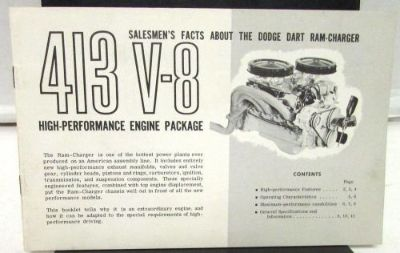 Buy 1962 Dodge Dealer Sales Brochure 413 Dodge Dart Ram-Charger Performance Package motorcycle in Holts Summit, Missouri, United States, for US $90.95