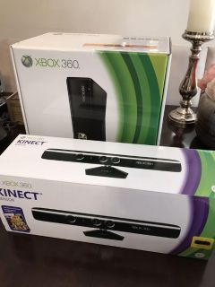 Xbox 360 with Kinect sensor, wireless controller, Xbox remote control, and Zoom System