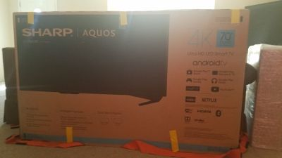 Sharp Aquos 4K Ultra HD LED Smart tv w/ specific heavy duty swivel & tilt wall mount w/ cord organiz