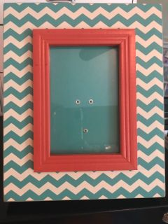 Turquoise and coral picture frame, holds 4x6 picture.