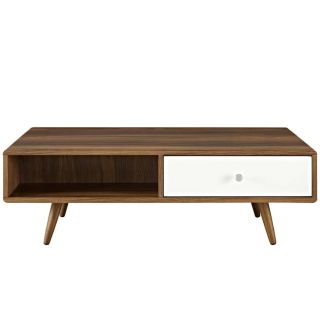 "New 47"" Walnut & White Coffee Table Ships FedEx"