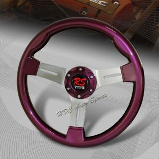 Buy JDM 350MM 6-Hole Purple Wood Grain Chrome 3-Spoke Steering Wheel Universal 4 motorcycle in Walnut, California, United States