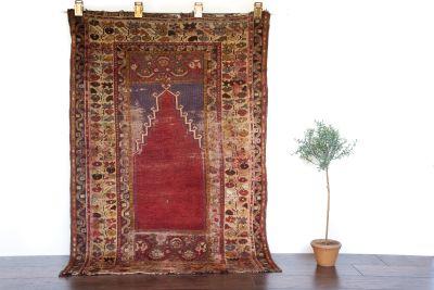 """Antique Turkish Prayer Rug - 3'5"""" x 4'11"""""""